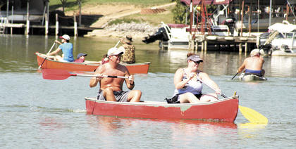 Andy and Elizabeth Lawrence spent their morning paddling a canoe.