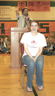 Sarah Bialik is all smiles when she gets a bid during the annual WHS senior service auction.