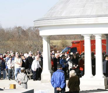 Community members gather for a Veterans Day ceremony at the Kentucky Veterans Cemetery North in Williamstown.