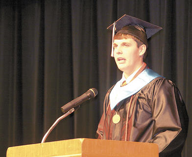 Co-valedictorian Dean Faulkner addresses the students.