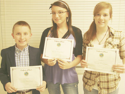 WILLIAMSTOWN MIDDLE SCHOOL WINNERS - Grant Mulligan, first place; Allyson Burton, second place and Arianna Johnson, third place.