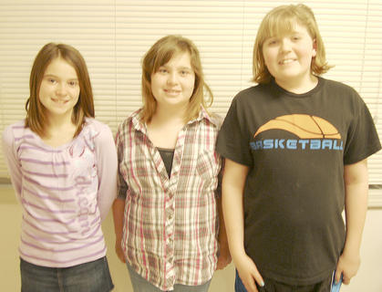CRITTENDEN-MT. ZION ELEMENTARY WINNERS - Kendall Clemons, first place; Paige Shebley, second place and Taylor Arnsperger, third place.