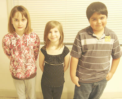 DRY RIDGE ELEMENTARY WINNERS - Skyler Maines, first place; Tessa Bigelow, second place and Angel Martinez, third place.