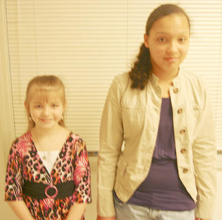 SHERMAN ELEMENTARY WINNERS Allyson Blackburn, first place and Angel Bullock, second place; Dominique Baxter, third place not pictured.
