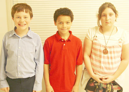 WILLIAMSTOWN ELEMENTARY WINNERS - Evan Keith, first place, Keegan Bailey, second place and Skyler Rains, third place.