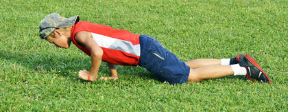 Kodie Cox does push-ups as exercise. Photos submitted