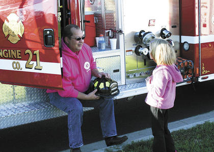 Crittenden Fire Chief Lee Burton talked with Sherman Elementary during Fire Prevention Week.