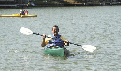 Williamstown Mayor Rick Skinner got in on the action by hopping into a kayak for the inaugural event.