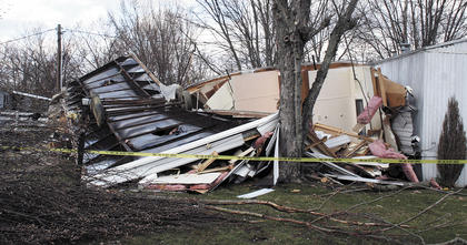 This mobile home was completely torn to pieces from the tornado.