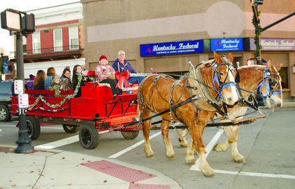 Mitch Workman takes attendees on a horse-drawn carriage ride during A Country Christmas on Dec. 2.