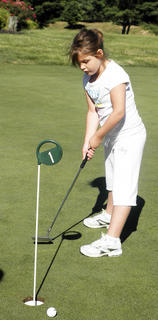 Morgan Shipp tries to putt the ball in