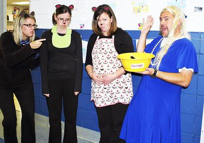 Dry Ridge Elementary third grade teachers, Michael Spratt, stole Jill Booth, Mary Catherine Kendall and Crystal Webster's porridge.