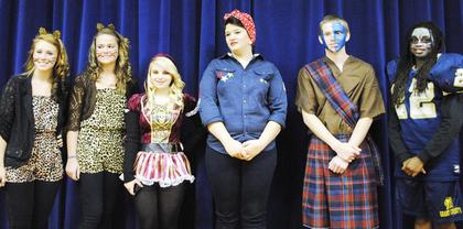 The Grant County High School costumes contest winners are Savannah Kinsey and Larrisa Searp, best group; Katie Flege, prettiest; Emily Samuel, most original; Chance Beckner, funniest; and Bri Boulware, scariest. The staff and students that chose to participate in the costume contest donated one dollar to the Red Cross. They raised a total of $80 for super storm Sandy relief. The students also won a $10 gift certificate to the school store to the top five winners of the contest. Photo submitted by Patrick Butcher