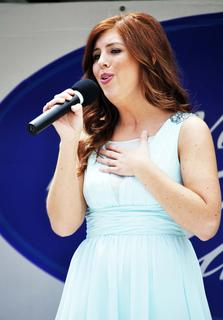 Felicity Spicer sings in the first round of the Derby Idol competition. The Derby Idol consisted of winners in the year's past.  Spicer went on to win the 2013 Derby Idol.