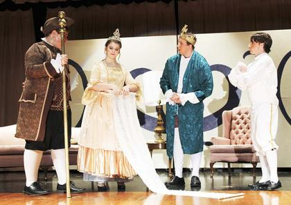 he Grant County High School Choral program, under the direction of Faith Clifton, presented Cinderella earlier this month.   Sam Carey-Fulton, Annelise Kinsey, Zack Fryman and Kendrick Herring act out a scene.