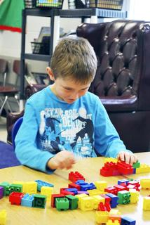 MCE student Dylan Handley was given an assignment to build something out of blocks to commemorate 100 days of school.