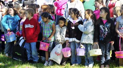 Several kids were excited to when it was time to go Easter egg hunting.