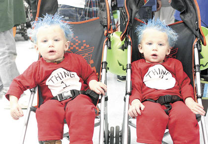 "WHAT'S THAT THING? -  Alexander and Colton McIntosh dress as Thing 1 and Thing 2 from ""Dr. Seuss' Cat In The Hat"" for Crittenden-Mt. Zion Elementary's Fall Festival. The twins took home the ribbon for funniest costume. Photo by Bryan Marshall"