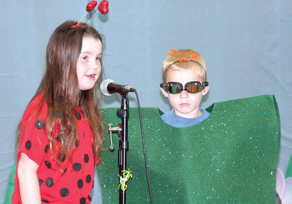 Isabella Williams portrays a ladybug while Emmitt Mills is the stink bug,