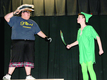 Jeffrey Dalton as Captain Hook prepares to fight Jacob Mullins as Peter Pan.
