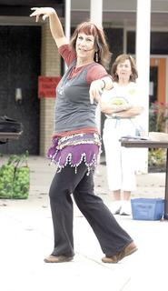 Jamee Jackson of DC Ballroom demonstrates how to belly dance.