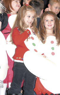 Grace Stanley and Karlee Dungan dressed up as snowgirls for the concert.