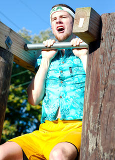 Austin Keene struggles in the obstacle course.
