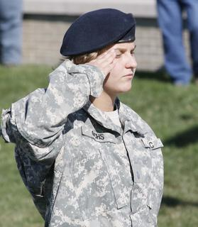 E.J. Faulkner of the GCHS ROTC salutes during the Veterans Day ceremony at the Kentucky Veterans Cemetery North in Williamstown.