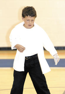 Jackson Reeves busts a move like Michael Jackson during the talent show with his show stopping glove.