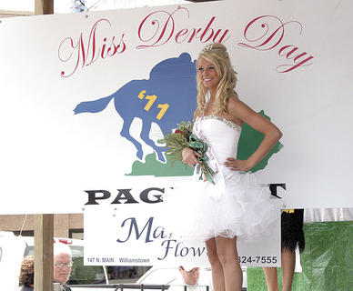 Madison Steele poses with her crown and sash as Miss Teen Derby Day.