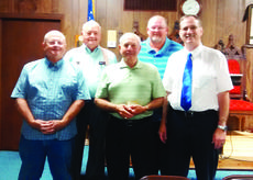 "<div class=""source""></div><div class=""image-desc"">Butch Jernigan, Bill Knapp, Andy Canafaz and David Threlkeld presented Randall Delaney, center, with a 50-year pin for being a member of the Grant Lodge. The Masonic members promote the welfare of man. Contributes to people in need.  It is a fraternal organization that helps widows and orphans, crippled children and the Shriner's Hospital; also awards a scholarship to a high school senior. Photo submitted </div><div class=""buy-pic""></div>"