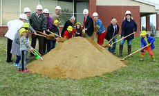 """<div class=""""source""""></div><div class=""""image-desc"""">CAN YOU DIG IT? - Grant County Public Library hosted a groundbreaking ceremony March 9, kicking off construction of the new addition for the library. The plans include a children's room and large meeting room, along with remodeling the library to make a teen area, a smaller meeting room for programs and additional space for staff and storage. Construction is set to begin in the next two to three weeks and it's expected to be finished within a year weather permitting. Library patrons, library staff and community leaders were in attendance, including Grant County Judge-Executive Steve Wood, Williamstown Mayor Rick Skinner, Grant County Magistrates Jacqalynn Riley and Shawna Coldiron, Grant County Deputy Judge-Executive Pat Conrad, the designer of the new addition Noah Onkst of Robert Ehmet Hayes & Associates Architects and GCPL Director Susan Nimersheim. Photo by Amanda Kelly</div><div class=""""buy-pic""""></div>"""