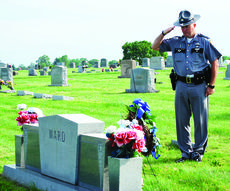 "<div class=""source""></div><div class=""image-desc"">Trooper David Jones from KSP Post 6 salutes Ward's grave at Hill Crest Cemetery in Dry Ridge. The Kentucky State Police honored fallen Trooper Joe Ward Jr. with a graveside ceremony at the Hill Crest Cemetery in Dry Ridge.      Ward died April 23, 1973, at age 25, after being struck and killed by a vehicle while working a collision in Hopkins County.  Trooper Ward was assigned to Post 2 Madisonville and was a four-year veteran of KSP. A section of U.S. 25 is designated as Trooper Joe Ward Memorial Hwy. in his honor.   </div><div class=""buy-pic""><a href=""/photo_select/26523"">Buy this photo</a></div>"