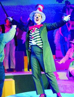 "Anna Schindler, as the Cat in the Hat, belts out a number for the audience during Stage Right Musical Theatre's opening weekend of ""Seussical the Musical."""