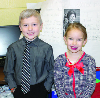 Liam Morris and Harper Skinner dress up as 43rd President of the United States George W. Bush and First lady Laura Bush in Emily Barker's class in honor of Presidents Day on Feb. 18 at Williamstown Elementary School. Photos by Bryan Marshall