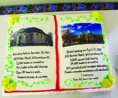 The Grant County Library had a cake made showing its 50-year history inside its own building.