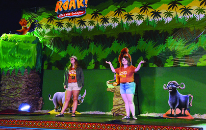 Megan and Emily Garrison welcome participants to Mount Olivet Christian's VBS held June 23 through June 27.