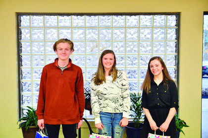 Elijah Walters, first place county writing winner and third place school winner at Williamstown High School; Kendra Johnson, second place county writing winner and first place school winner at Grant County Middle School and Lauren Marksberry, third place county writing winner and first place school winner at Williamstown Middle School.