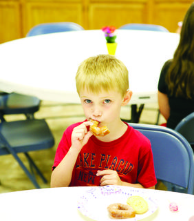 Hoyt Beach takes a break at snack time during Elliston Baptist's VBS.