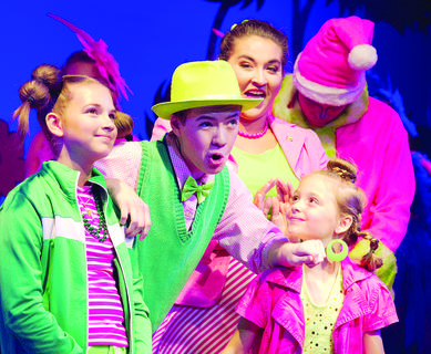 Eden Wolfe (Cindy Lou Who), Jacob Mullins (Mr. Mayor), Kaitlin McCulloch (Mrs. Mayor), Bianca Dills (Who) and Matthew Nalley (Grinch) sing and dance during their ensemble performance.