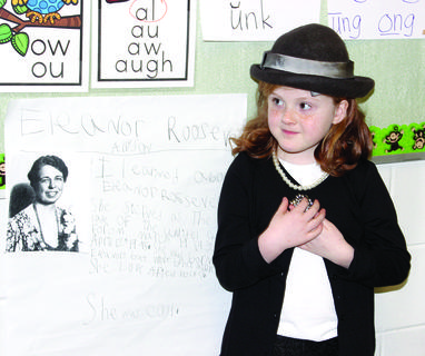 Zoie Buchanan dresses up as First Lady Eleanor Roosevelt.