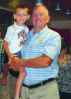 Lane and Mitch Workman pose for a photo at Williamstown Elementary on Sept. 7 for Grandparents Day.