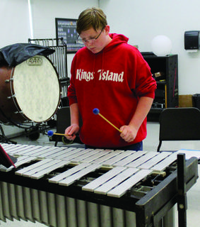 Hayden Jump plays the xylophone during Grant County High School's annual band camp. Photos by Amanda Kelly
