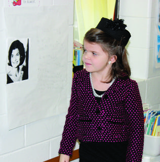 Allyson Boswell dresses up as First Lady Jacqueline Kennedy.