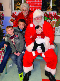 Jeremiah and Jaden Morgan were excited to see Santa along with Leila Richey at Sherman.