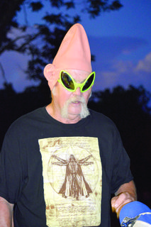 4-H Extension Agent Lamar Fowler dresses up as an alien during camp.