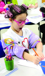 MCE student Lilly McDonald dresses up for the 100th day of school.