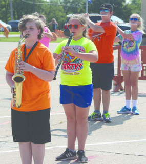 Malachi Spencer, Caroline Peer, Lucas Dodd and Madilynn Gavin practice their instruments during  band camp at WIlliamstown High School. Photos by Samantha Tamplin
