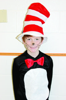 WES fourth grader Kainan Held dresses up as Cat in the Hat.