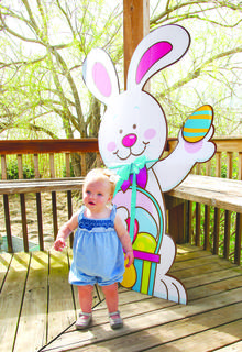 Annalyse Cardin poses for a photo with a Easter Bunny.